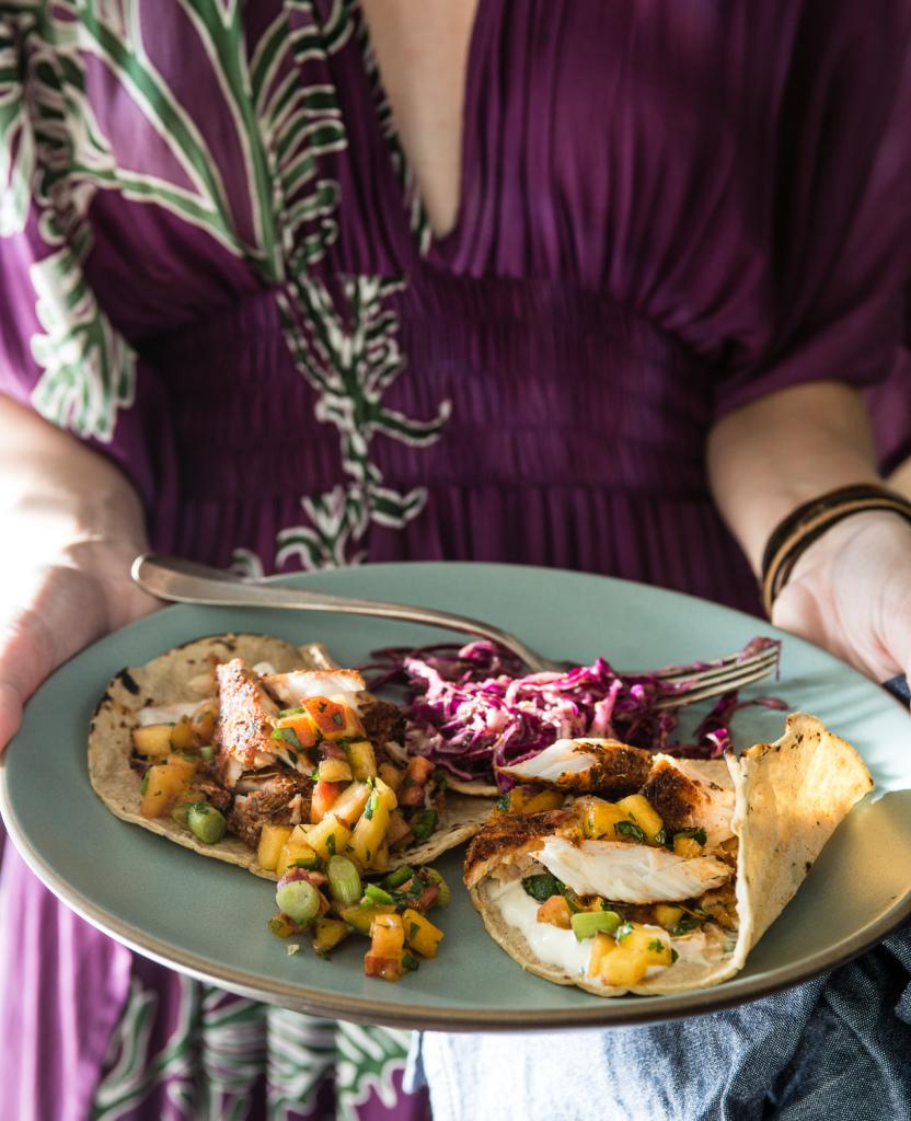 mahi-mahi tacos with nectarine salsa