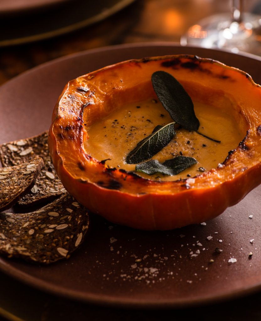 Butternut squash soup with crispy sage