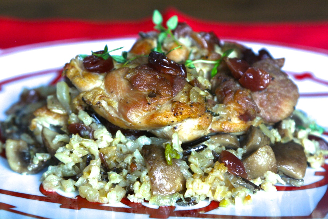 Chicken with Mushrooms and Cranberries Casserole
